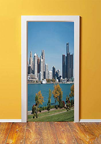 Detroit Decor 3D Door Sticker Wall Decals Mural Wallpaper,Industrial City Center Shoreline River Scenic Panoramic View Sunny Day Decorative,DIY Art Home Decor Poster Decoration 30.3x78.4607,Blue Green ()