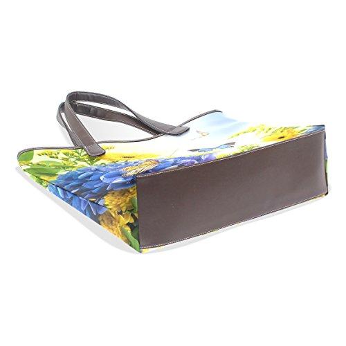 COOSUN Flores Mariposas digital hydragea margaritas azules grandes bolsas de PU mango de cuero Bolsa de hombro bolsa de asas L (33x45x13) cm Multicolor # 001