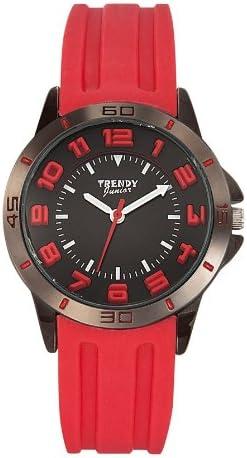 Trendy Junior KL208 - Reloj analógico de Cuarzo Unisex con Correa de Silicona, Color Negro