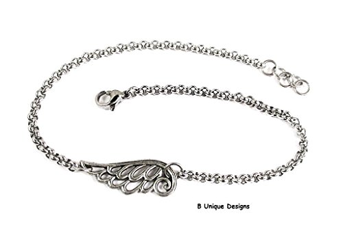 (Angel Wings Charm Filigree Anklet Stainless Steel Rolo with Chain-Mail Women's Girls Personalized Initial Birthstone Jewelry)