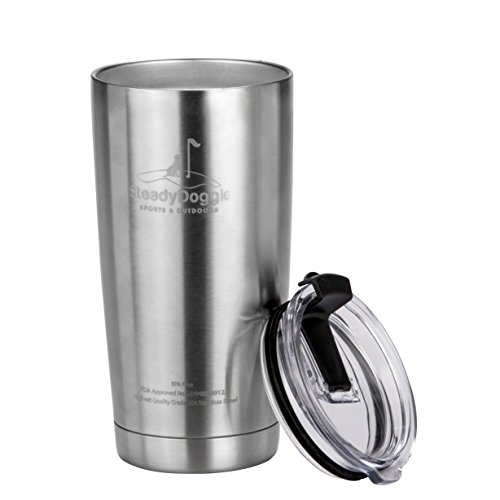 Steel Coffee Travel Mugs (Premium Stainless Steel Coffee Travel Mug 20 0z Double Wall Insulated Tumbler with Spill Proof Flip Top Lid - Sweat Free, Dishwasher Safe, Snug Fit for Car Cup Holder – Travel Friendly Size)