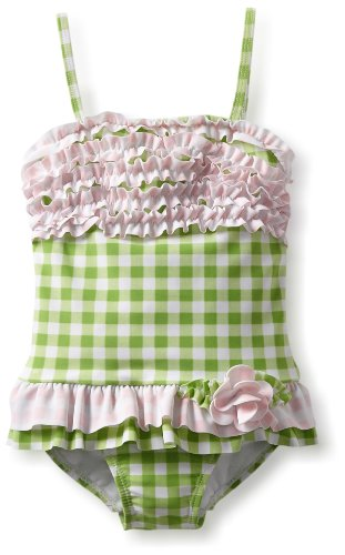 Hartstrings Little Girls'  Little Ruffled One Piece Bathing Suit, Green Check, 6