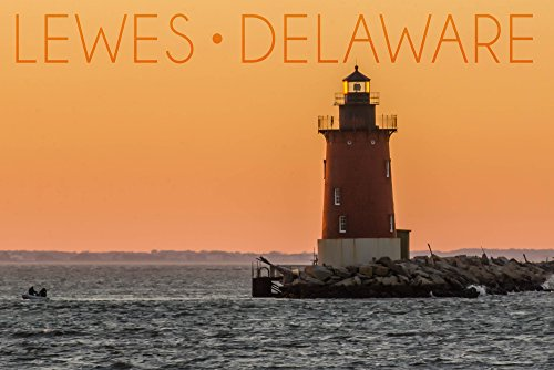 Lewes, Delaware - Cape Henlopen Lighthouse Sunset (16x24 Fine Art Giclee Gallery Print, Home Wall Decor Artwork Poster)