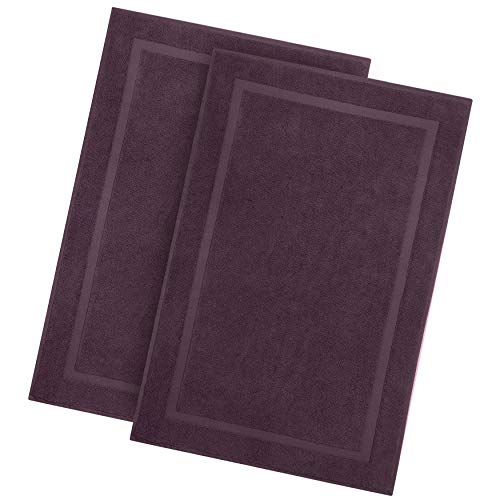 Cotton Craft - 2 Pack Luxury Bath Mat - Plum - 100% Ringspun Cotton - Oversized 21x34 - Heavy Weight 1000 Grams - 2 Ply Construction - Highly Absorbent - Soft Underfoot Easy Care Machine Wash