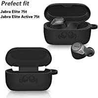 Jabra Elite 75t Case Cover Alquar Premium Soft Silicone Skin Cover Shock Absorbing Anti Scratch Protective Case With Keychain For Jabra Elite 75t Earbuds Black Amazon Sg Electronics