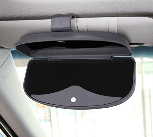 Black Dualshine Car Visor Sunglasses Leather Holder Mounted with Ticket Card Clip Kraft First Layer Sunglasses Clip Suitable for All Models Light /& Compact