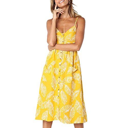 Femmes Robes Summer Floral Bohme Spaghetti Strap Bouton Bas Swing Midi Dress Avec Poches 27 Couleur Jaune avec des Feuilles