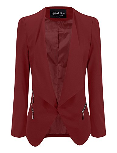 Lookbook+Store+Women%27s+Burgandy+Draped+Padded+Asymmetric+Suit+Blazer+US+8