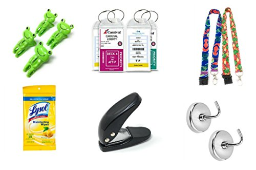Price comparison product image Cruise Kit:Luggage Tags Lanyards Hole Punch Frog Towel Clips Two Hooks & Lysol
