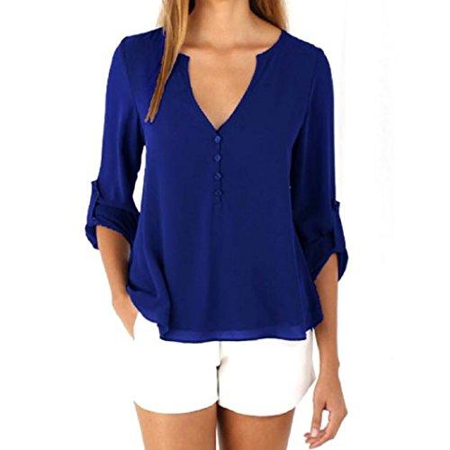 TOPUNDER Womens Loose Long Sleeve Chiffon Casual Blouse Shirt Tops Fashion Blouse (M, Blue)