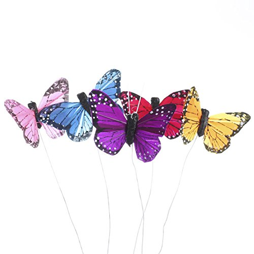 Group of 12 Assorted Color Natural Feathered Monarch Mini Butterflies with Attached Wire for Easy Displaying and Crafting ()