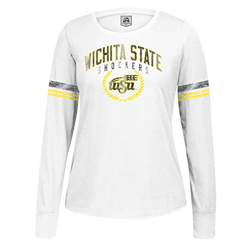 J America NCAA Wichita State Shockers Women's Long Sleeve Laurel Essential Tee, White, ()