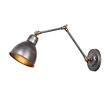 Anmytek Iron Color Wall Light Fixture Swing Arm Wall Lamp Industrial Retro Rustic Loft Antique Wall Lamp Edison Vintage Pipe Wall Sconce Decorative Fixtures Lighting Luminaire (Bulbs not Included)