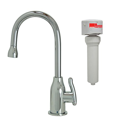 Mountain Plumbing MT1803FIL-NL/PVDBRN Point-of-Use Drinking Faucet and Mountain Pure Water Filtration System with Wine Bottle Spout and Curved Handle, Brushed Nickel