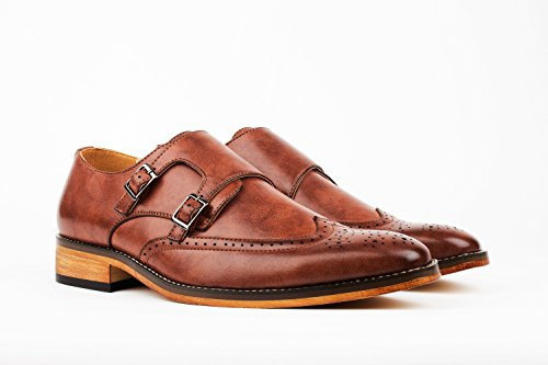 Gino Vitale Men's Double Monk Strap Brogue Dress Shoes, Brown, Size - Shoes Monk Dress Strap