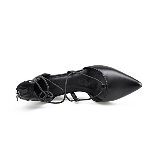 AdeeSu Womens Hollow Out Chunky Heels Square Heels Black Lambskin Sandals SLC03421-4 UK oBFBd