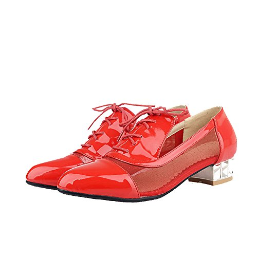 Amoonyfashion Mujer Lace Up Blend Materials Pointed Closed Toe Low Heels Bombas Sólidas-zapatos Rojo
