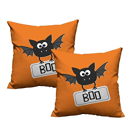 Acelik Halloween Pillow Covers Cute Funny Bat with Plate Boo Fangs Scare Frighten Seasonal Cartoon Print Premium,Ultra Soft,Hypoallergenic,Breathable 14