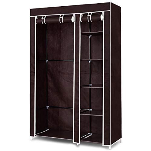 WATERJOY 69'' Wardrobe, Portable Cloth Wardrobe Closet Organizer, Durable Non-Woven Fabric Wardrobe Storage Organizer for Bedroom Hanging Clothes, 6 Shelves, Brown