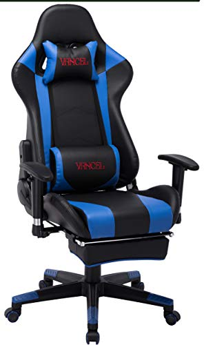 Computer Gaming Chair with Footrest- Adjustable Reclining High Back Swivel Home Office Chair with Headrest and Lumbar Massage Support Racing Style PC Chair (Black&Blue) -
