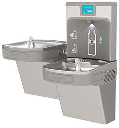 Elkay LZSTL8WSLP Filtered Enhanced EZH2O Bottle Filling Station with Bi-level ADA Cooler, Light - Ada Fountains Drinking