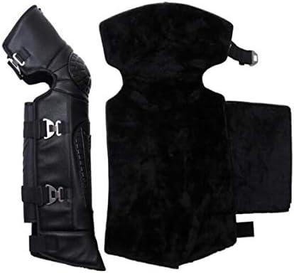 Kaiyitong001 アンチ秋の暖かさと滑り止めフックとスリングを送信し、ロング膝パッド、オートバイ電気自動車プロテクター、屋外乗馬防風レギンスを増やします,スタイリッシュで絶妙 (Color : Black)