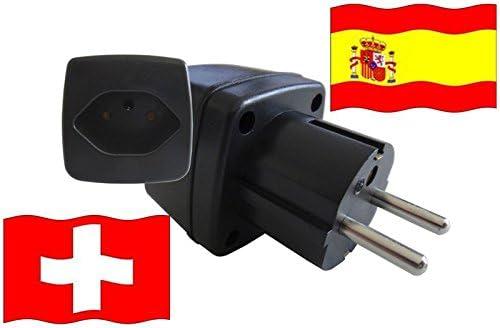 Adaptador de Viaje España a Suiza ES - CH Travel Plug ESPAÑA-Viaje(Protección Contacto): Amazon.es: Bricolaje y herramientas