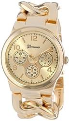 Geneva Women's 2380-Gold-GEN Oversized Interlocked Chain Band Watch