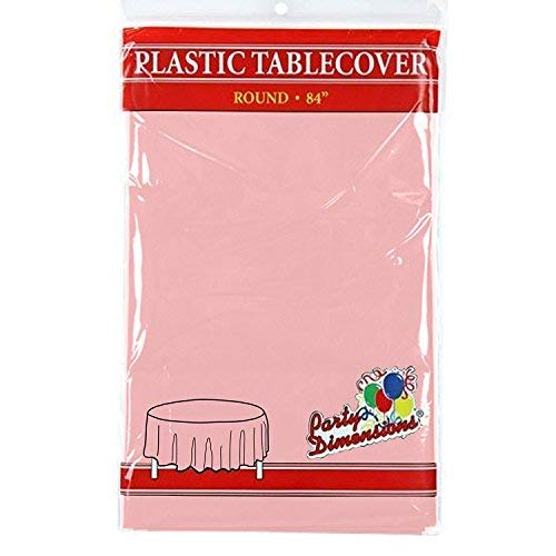 """Pink Round Plastic Tablecloth - 4 Pack - Premium Quality Disposable Party Table Covers for Parties and Events - 84"""" - By Party -"""