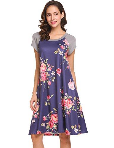 Raglan Flare Dress (BEAUTYTALK Women's Floral Print Casual Short Sleeve A-Line Loose T-Shirt Dress)