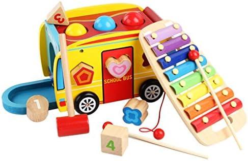 プッシュプル木製の形状、幼児教育の形状マッチングビルディングブロック玩具のために車をソートピアノをノック (色 : Multi-colored)