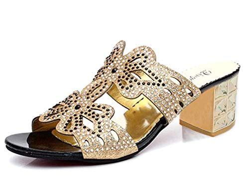 Glitter Noir A Chunky Mules Toe Minetom Platform Bloc Peep Femmes Sandales Strass Papillon Heel qInntw7OR