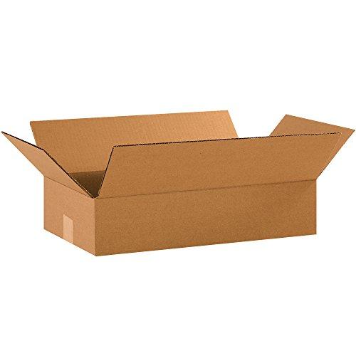 "Aviditi 18104 Single-Wall Flat Corrugated Box, 18"" Length x 10"" Width x 4"" Height, Kraft"