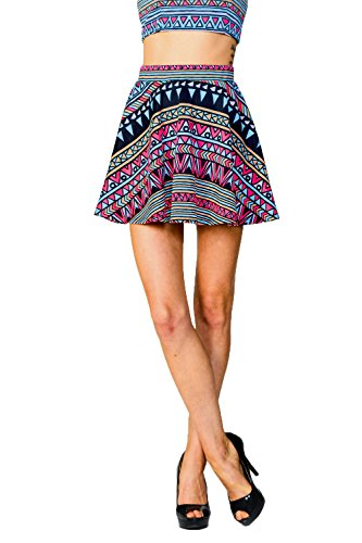 Womens Hot Pink Neon Aztec Tribal Print Elastic Waist Flare Mini Skirt Made in USA Small