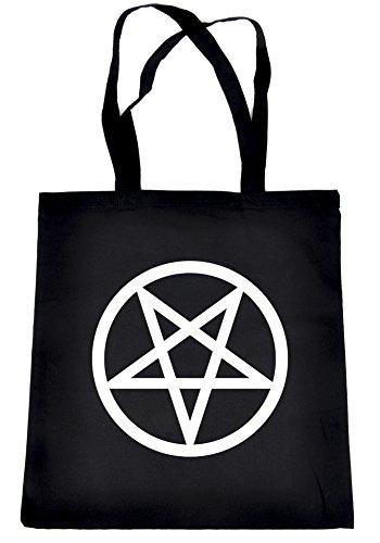 White Inverted Pentagram Symbol Tote Bag Occult Alternative Clothing Book Bag