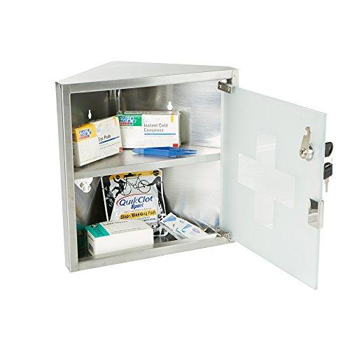 Mind Reader 2 Tier Medicine Cabinet With Locking Feature