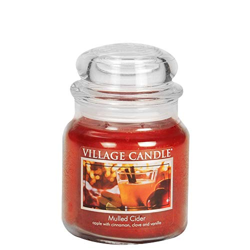 Apple Candle Spice - Village Candle Mulled Cider 16 oz Glass Jar Scented Candle, Medium