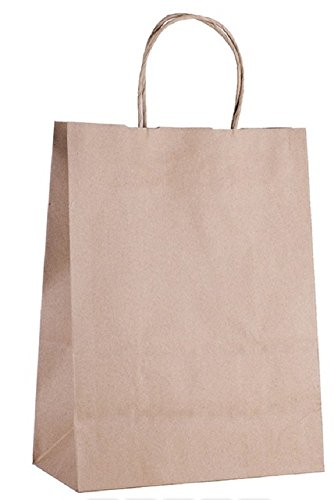Paper Bags Shopping Bags. Pack of 25 Grocery Bags 10 x 5 x 13. Natural Brown Color. Reusable Kraft Paper Bag with Handles. Wholesale Bulk & Retail Merchandise. Carry & (Fancy Shopper Bag)