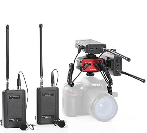Saramonic Dual Wireless VHF Lavalier Microphone Bundle with 2 Transmitters, 2 Receivers and Audio Mixer for DSLR Cameras ()