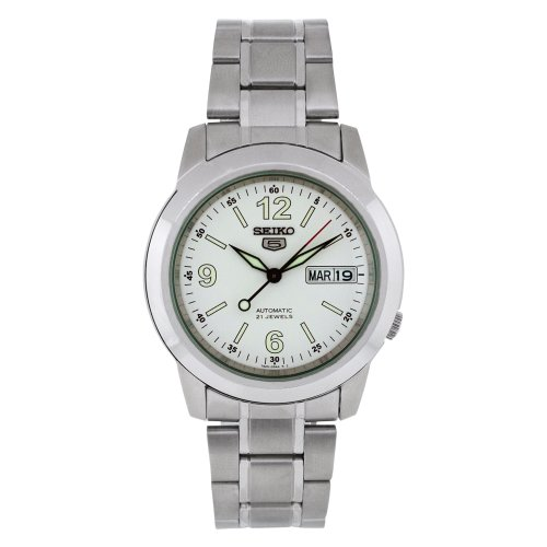 (Seiko Men's SNKE57 Stainless Steel Analog with White Dial Watch)