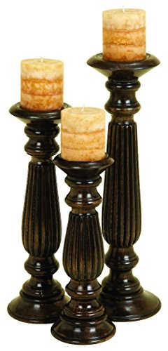Deco 79 Wood Candle Holder, 18 by 15 by 12-Inch, Espresso, Set of 3