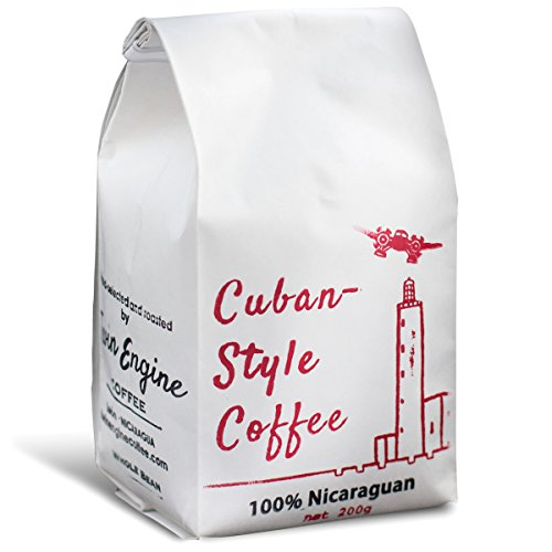 Twin Engine Coffee CUBAN STYLE - Dark Roast, Whole Bean, Nicaraguan Coffee blended and roasted in the Cuban Style, 200g 7.05oz | Rich Specialty Coffee packaged at the source | Traditional Style