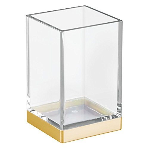 InterDesign Clarity Tumbler Cup for Bathroom Vanity Countertops - Clear/Brushed Gold