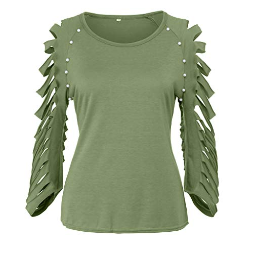 HJuyYuah Womens Fashion Hollow Out Beading O-Neck Cut Out Ripped Sleeve T-Shirt Tops Army Green