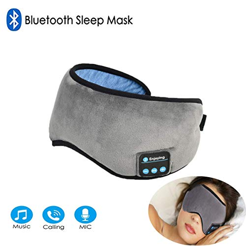 Bluetooth Sleeping Eye Mask Headphones, Grey Wireless Sleep Headphone, Built-in Bluetooth 4.2 Speakers Microphone Adjustable&Washable, Perfect for Air Travel, -