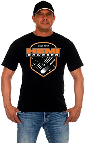 JH DESIGN GROUP Mens Hemi Powered Logo T-Shirt with Exclusive American Flag Sticker (3X, Black) (Printed Short Hoodie Sleeve Logo)