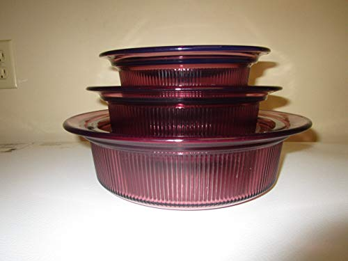 (SET OF 3 - Vintage Corning Cranberry Vision Visionware Round Glass Covered Casserole Baking Dishes w/ Lids (24 oz, 2-1 Qts))