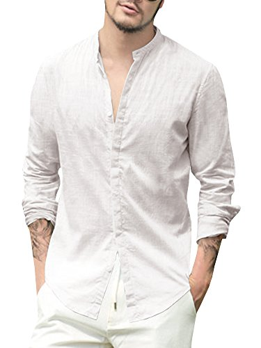 Enjoybuy Mens Casual Linen Cotton Long Sleeve Shirt Loose Fit Summer Beach Shirts (X-Large, 01-White)