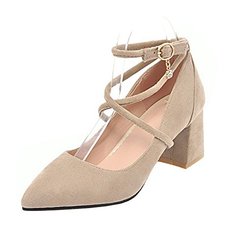 Women's Pointed Pumps Kitten Shoes Buckle Beige Toe Heels Odomolor Solid POwSnWxSqd