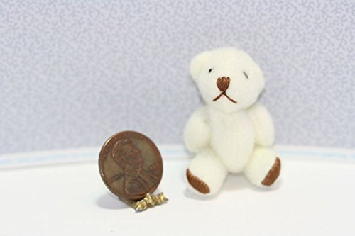 Dollhouse Miniature Soft White Teddy Bear with Brown Foot Paws